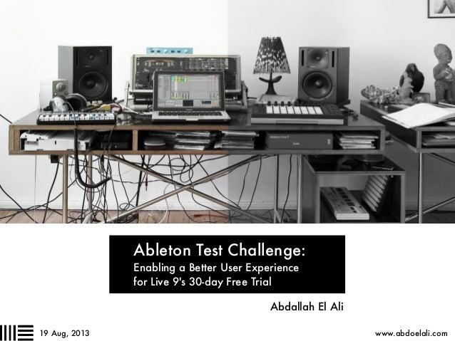 UX Designer Ableton Test Challenge