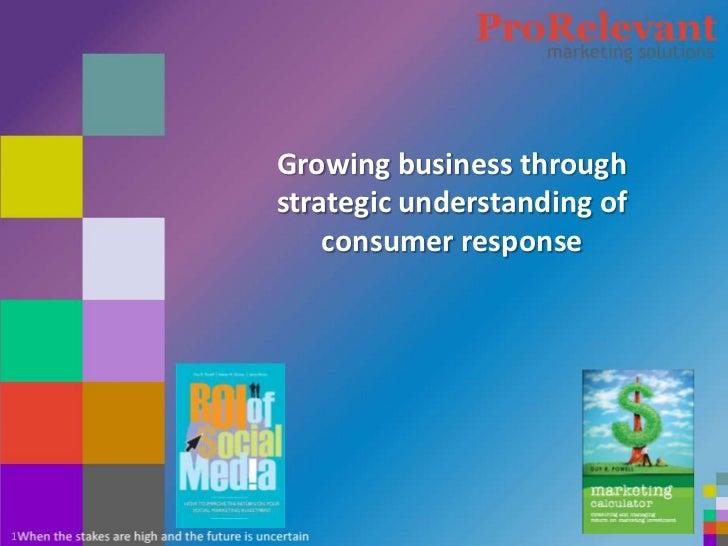 Growing business through    strategic understanding of        consumer response1