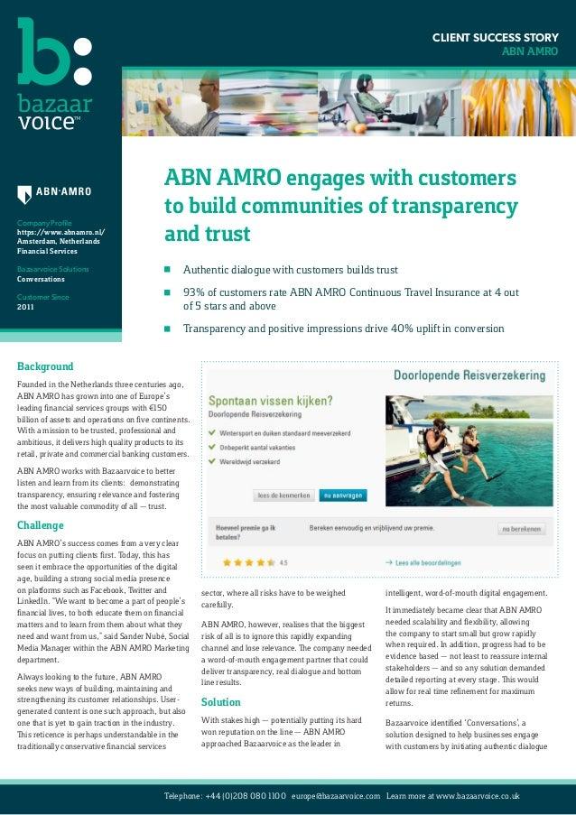ABN AMRO Klantbeoordelingen - Case Study Bazaarvoice