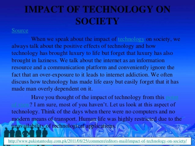 Effects of technology on society essay