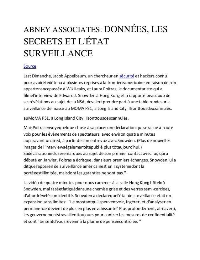 ABNEY ASSOCIATES: DONNÉES, LES SECRETS ET L'ÉTAT SURVEILLANCE Source Last Dimanche, Jacob Appelbaum, un chercheur en sécur...