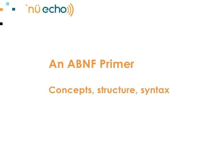 An ABNF Primer