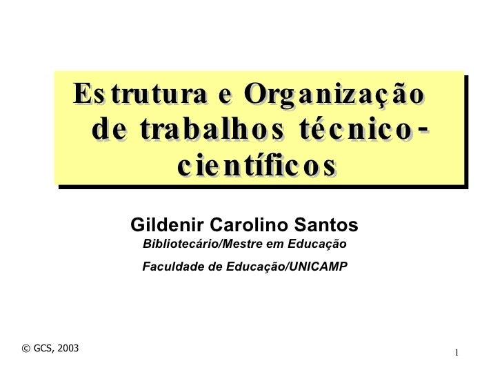 Gildenir Carolino Santos Bibliotecário/Mestre em Educação Faculdade de Educação/UNICAMP Estrutura e Organização  de trabal...