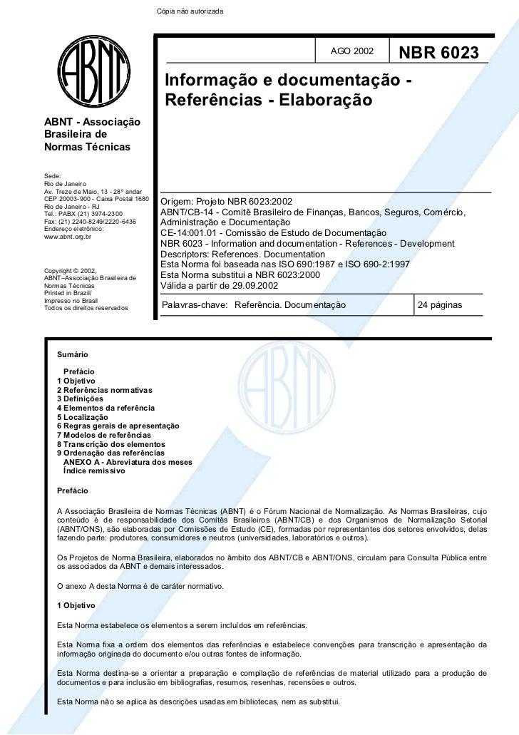 Abnt Nbr  6023 (Ago 2002)   Referencias Bibliograficas (Original)