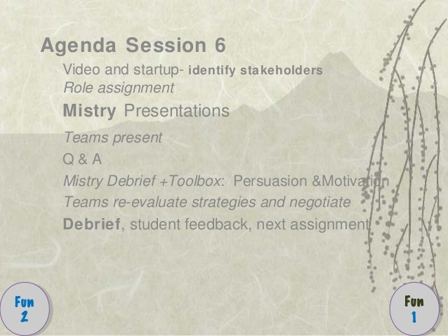 Agenda Session 6 Video and startup- identify stakeholders Role assignment Mistry Presentations Teams present Q & A Mistry ...