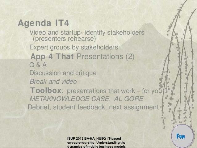 ISUP 2013 BA-HA_HU8Q IT-based entrepreneurship: Understanding the dynamics of mobile business models Agenda IT4 Video and ...