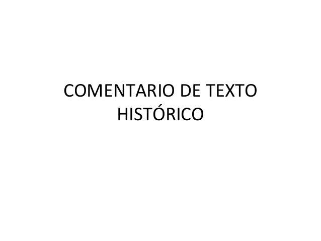 COMENTARIO DE TEXTO HISTÓRICO