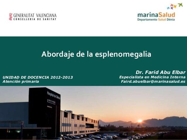 Abordaje de la esplenomgalia. Dr. Farid Abu Elbar. Especialista en Medicina Interna.
