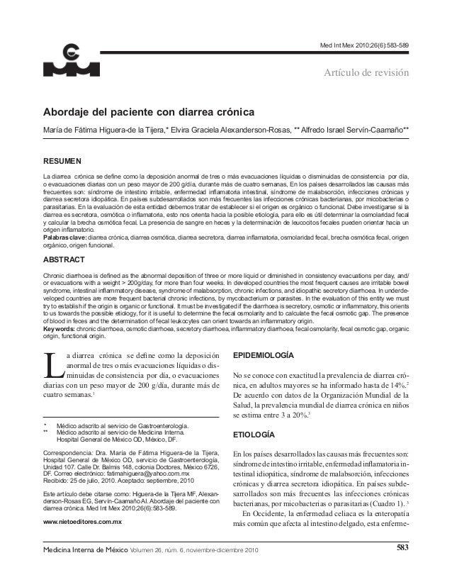 Med Int Mex 2010;26(6):583-589  Artículo de revisión Abordaje del paciente con diarrea crónica María de Fátima Higuera-de...