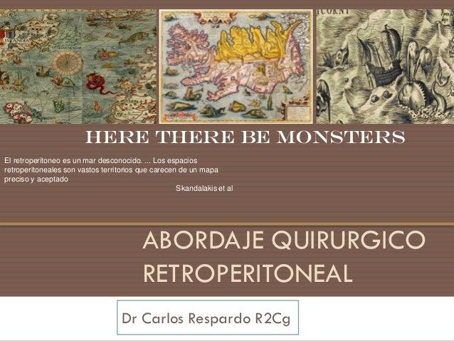 Here there be monstersEl retroperitoneo es un mar desconocido. ... Los espaciosretroperitoneales son vastos territorios qu...