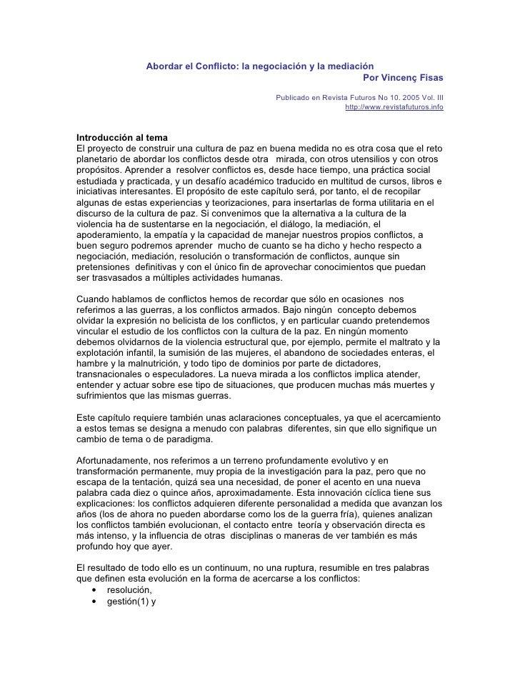 Abordar el Conflicto: la negociación y la mediación                                                                  Por V...
