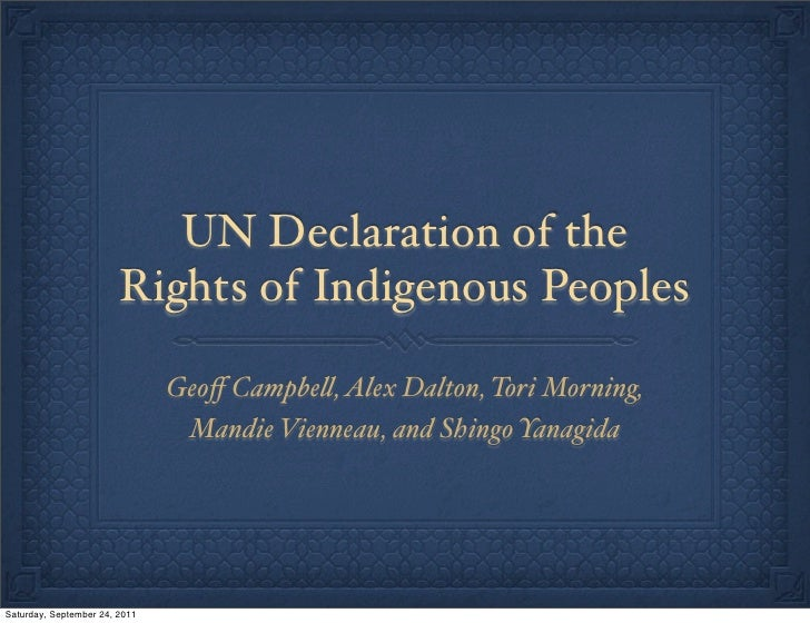"UN Declaration of the                        Rights of Indigenous Peoples                               Geoff Campbe"", Alex..."