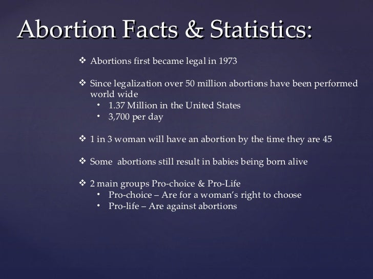 """an introduction in pro life and pro choice abortions performed in the united states since 1973 Wade (410 us 113), there are around a million abortions performed each year in  the  a woman from an unwanted pregnancy, abortion has become one of the  most  introduction  discussions of """"pro-life"""" and """"pro-choice"""" are not new   11the american catholic church's reaction to the landmark 1973 supreme court ."""