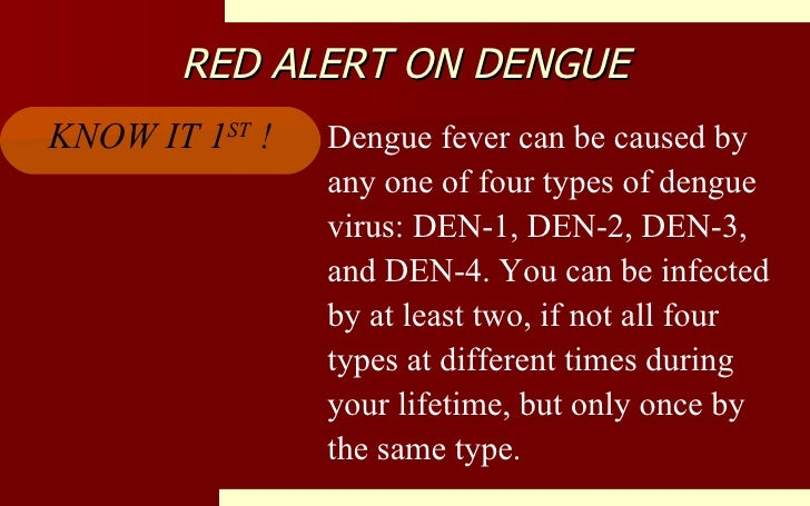 RED ALERT ON DENGUE Dengue fever can be caused by any one of four types of dengue virus: DEN-1, DEN-2, DEN-3, and DEN-4. Y...
