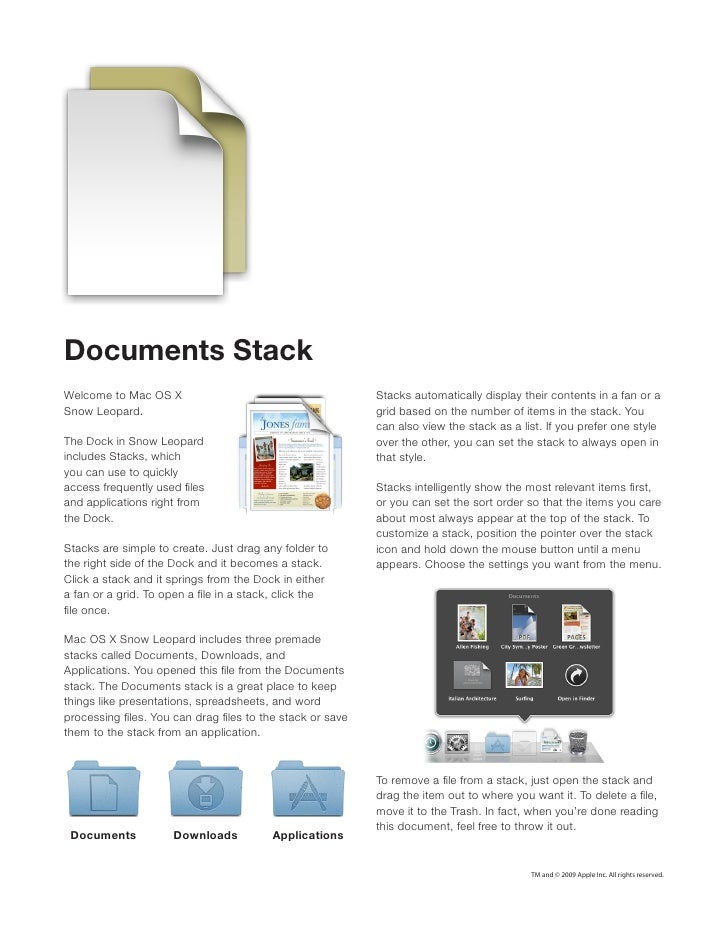 Documents StackWelcome to Mac OS X                                     Stacks automatically display their contents in a fa...