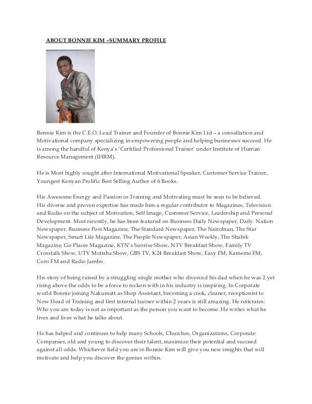ABOUT BONNIE KIM –SUMMARY PROFILEBonnie Kim is the C.E.O, Lead Trainer and Founder of Bonnie Kim Ltd – a consultation andM...