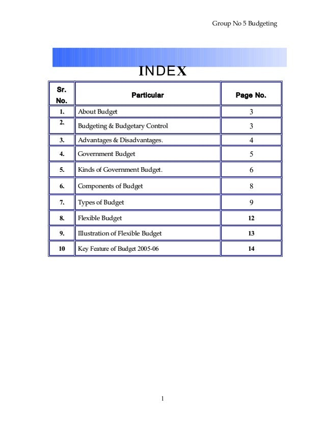 Group No 5 Budgeting INDEX Sr.Sr. No.No. ParticularParticular Page No.Page No. 1.1. About BudgetAbout Budget 33 2.2. Budge...