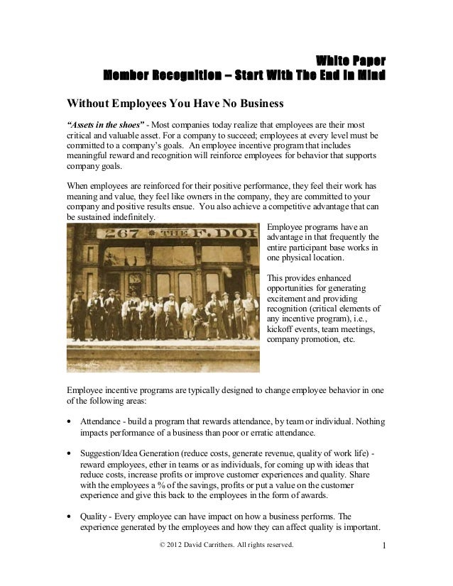 "White PaperMember Recognition – Start With The End In MindWithout Employees You Have No Business""Assets in the shoes"" - Mo..."