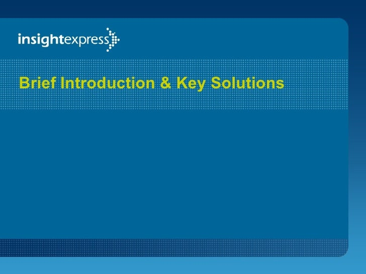 Brief Introduction & Key Solutions