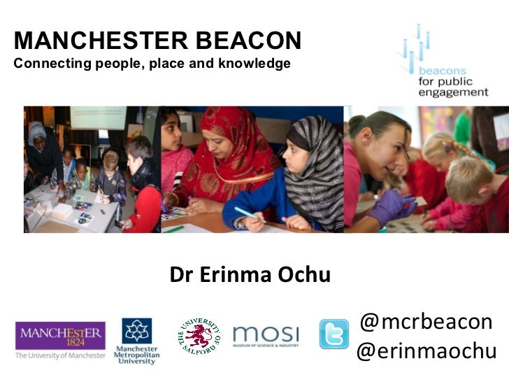 MANCHESTER BEACON Connecting people, place and knowledge Dr Erinma Ochu @mcrbeacon @erinmaochu