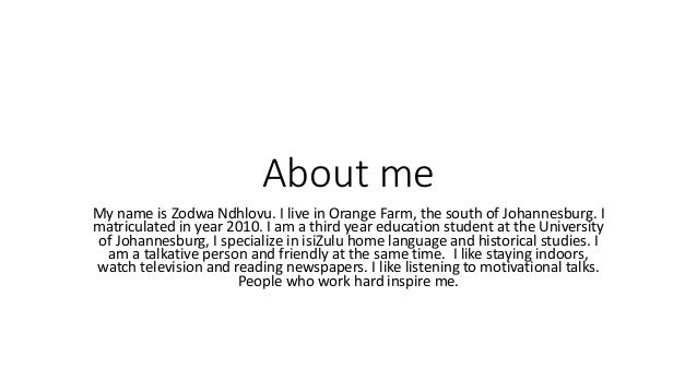 description about myself