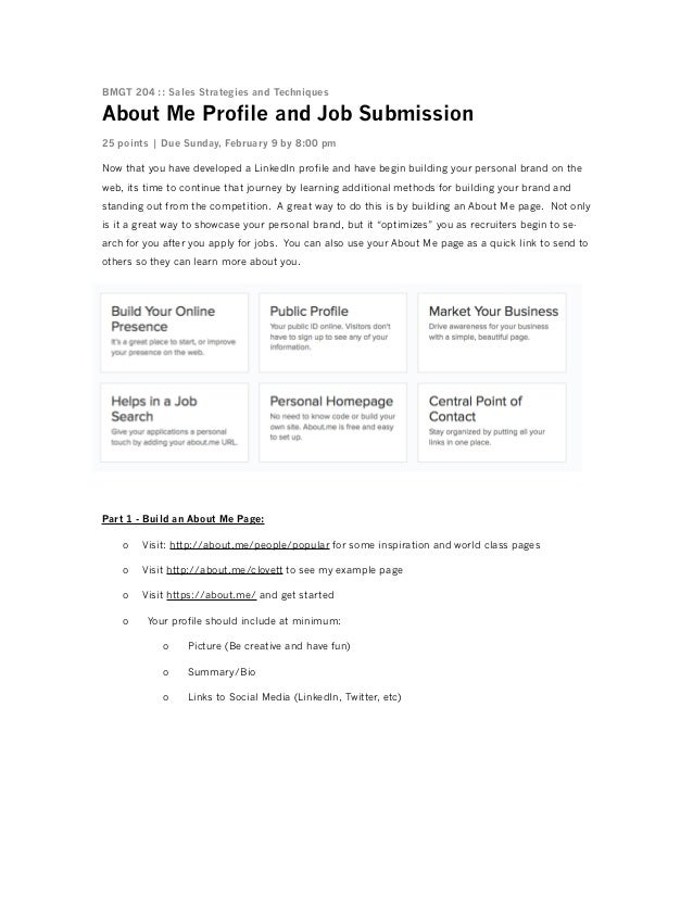BMGT 204 :: Sales Strategies and Techniques  About Me Profile and Job Submission 25 points | Due Sunday, February 9 by 8:0...