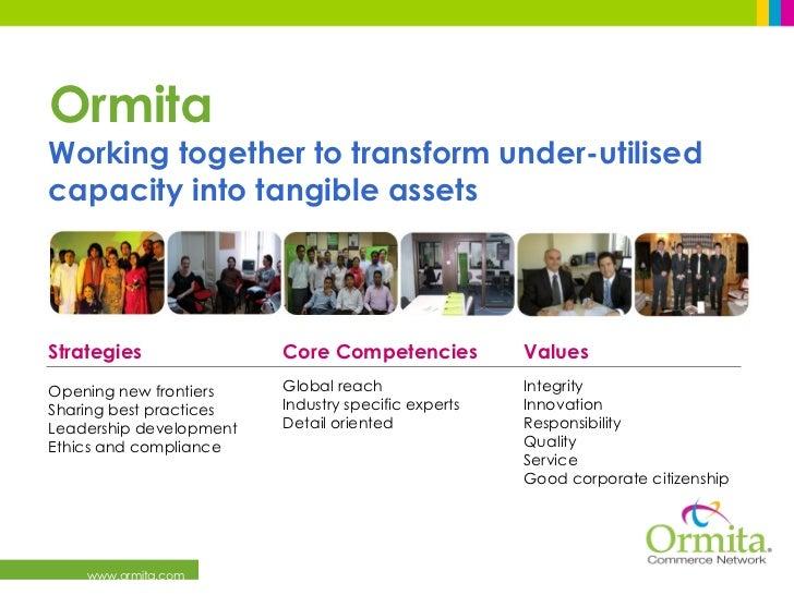 Ormita <ul><li>Working together to transform under-utilised capacity into tangible assets </li></ul>Values Integrity Innov...