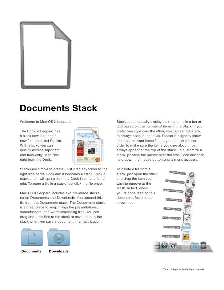Documents Stack Welcome to Mac OS X Leopard.                                 Stacks automatically display their contents i...