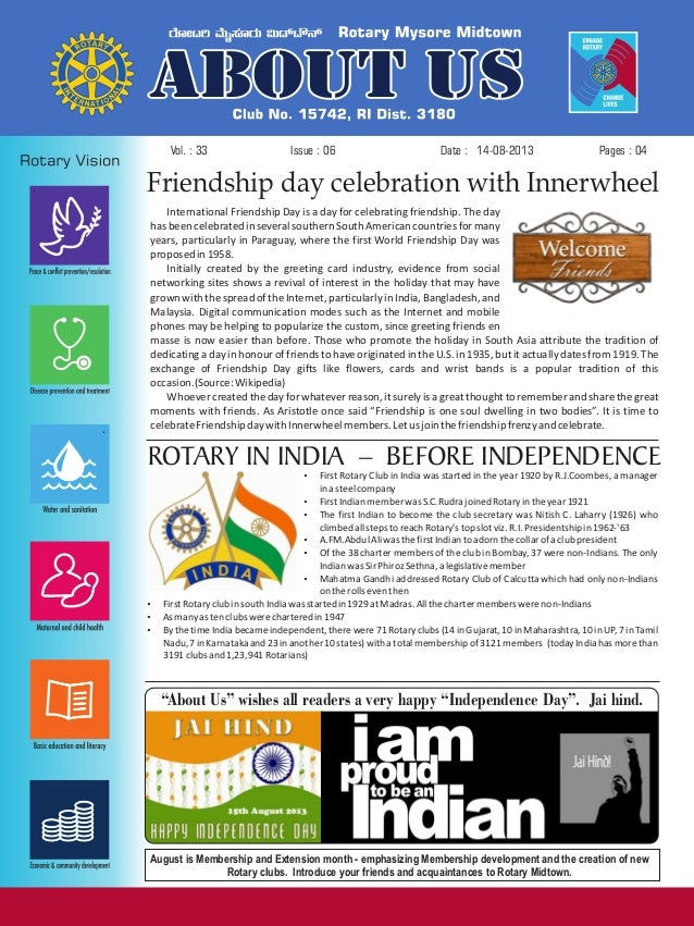 Issue : 06Vol. : 33 14-08-2013Date : Pages : 04 Friendship day celebration with Innerwheel International Friendship Day is...
