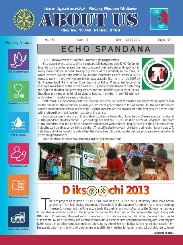 Issue : 11Vol. : 33 18-09-2013Date : Pages : 04 ECHO SPANDANA ECHO-EmpowermentofChildren&HumanrightsOrganization Encourage...