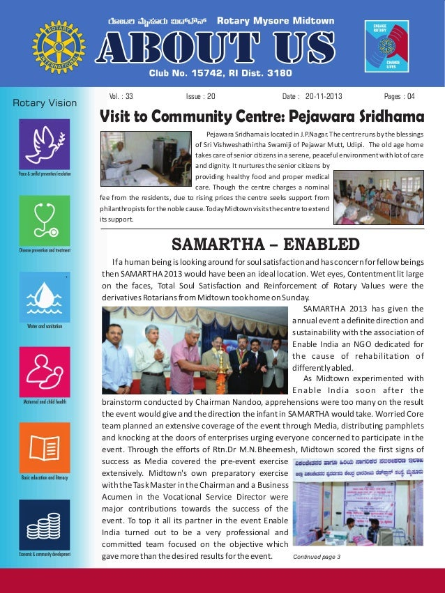 Vol. : 33  Issue : 20  Date : 20-11-2013  Pages : 04  Visit to Community Centre: Pejawara Sridhama Pejawara Sridhama is lo...