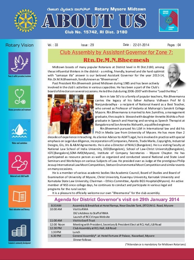 Issue : 29  Vol. : 33  Date : 22-01-2014  Pages : 04  Club Assembly by Assistant Governor for Zone 7:  Rtn.Dr.M.N.Bheemesh...