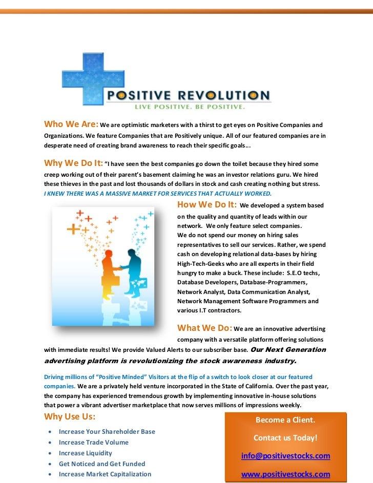 About Us Positive Stocks  Positive Revolution