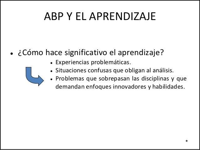 ABP Y EL APRENDIZAJE●   ¿Cómo hace significativo el aprendizaje?            ●   Experiencias problemáticas.            ●  ...