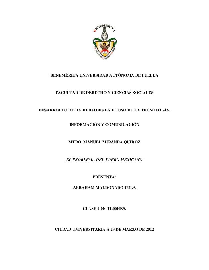 BENEMÉRITA UNIVERSIDAD AUTÓNOMA DE PUEBLA      FACULTAD DE DERECHO Y CIENCIAS SOCIALESDESARROLLO DE HABILIDADES EN EL USO ...