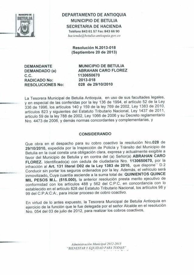 Resolucion N 2013-018 de Septiembre 20 de 2013