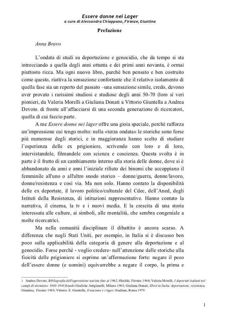 """Prefazione e indice del libro """"Essere donne nei Lager""""."""