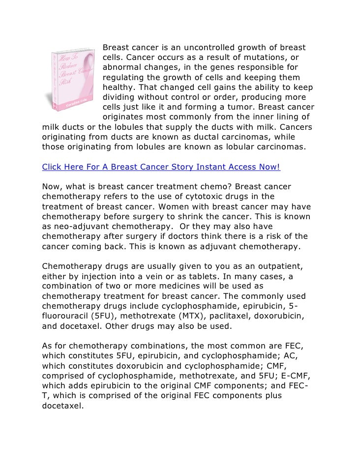 A breast cancer story   breast cancer treatment chemo