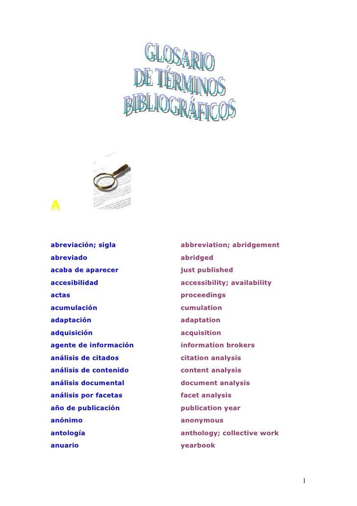 Glosario de términos bibliográficos