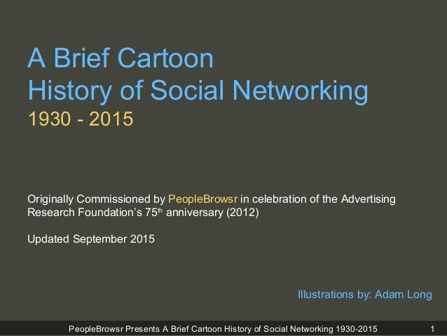 PeopleBrowsr Presents A Brief Cartoon History of Social Networking 1930-2015 A Brief Cartoon History of Social Networking ...