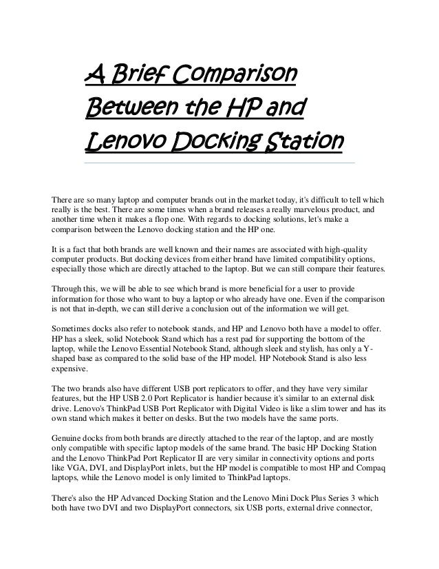 A Brief Comparison Between the HP and Lenovo Docking Station