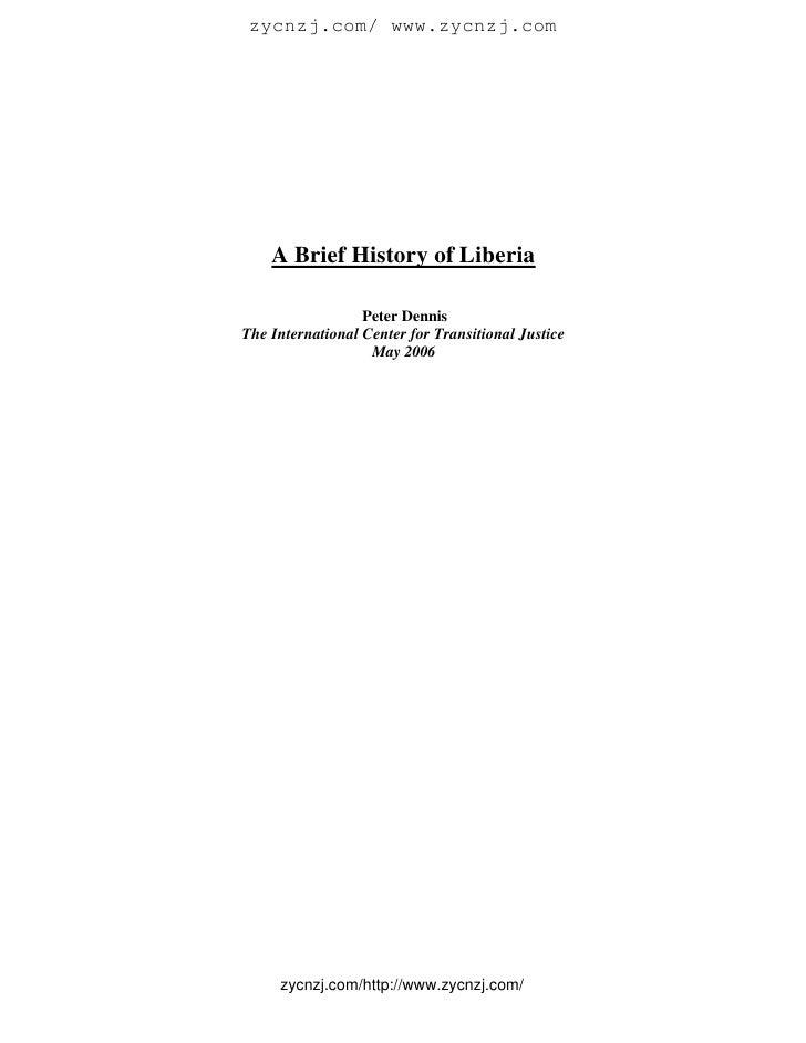 A brief history of liberia