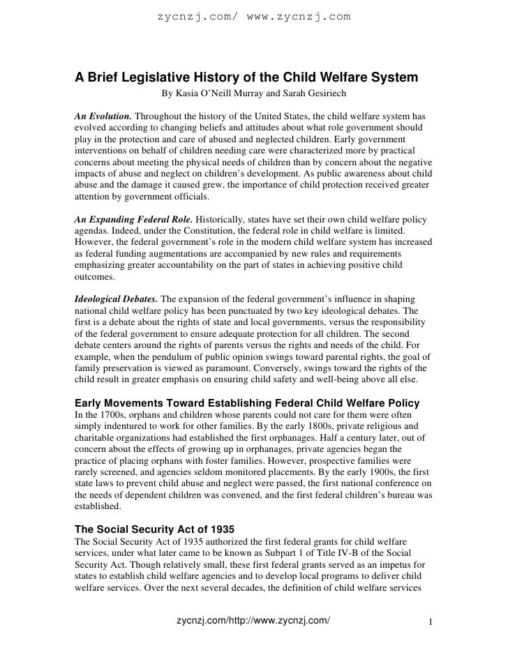 A brief legislative history of the child welfare system