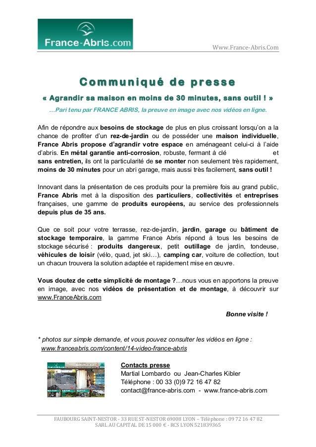 Www.France-‐Abris.Com    Communiqué de presse « Agrandir sa maison en moins de 30 minutes, sans outil ! » …Par...