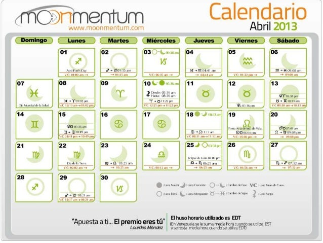Luna LlenaInicio: 27 de Marzo a las 05:28 am                   Final: 03 de Abril a las 00:38 amInicio: 25 de Abril a las ...