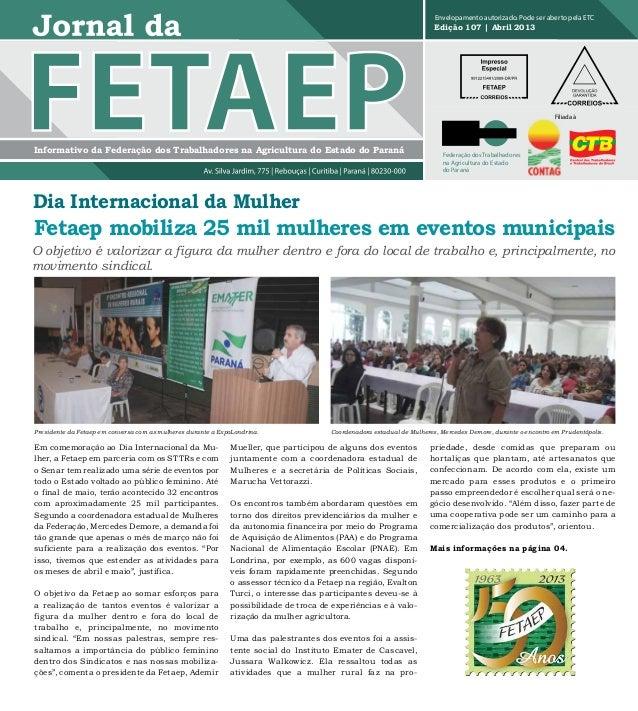Jornal da FETAEP edição 107 - Abril de 2013