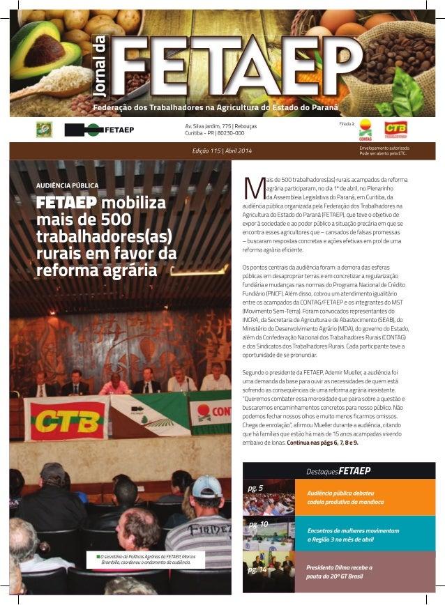 Jornal da FETAEP edição 115 - Abril de 2014
