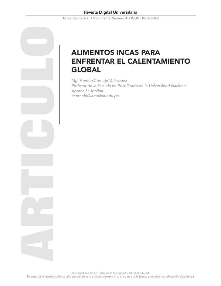 ALIMENTOS INCAS PARA ENFRENTAR EL CALENTAMIENTO GLOBAL