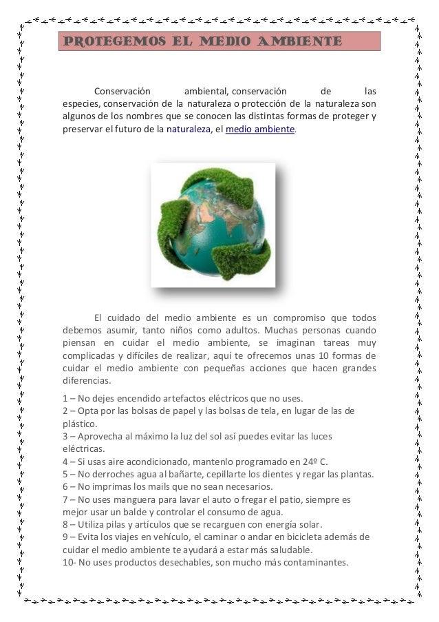 PROTEGEMOS EL MEDIO AMBIENTE  Conservación ambiental, conservación de las especies, conservación de la naturaleza o protec...