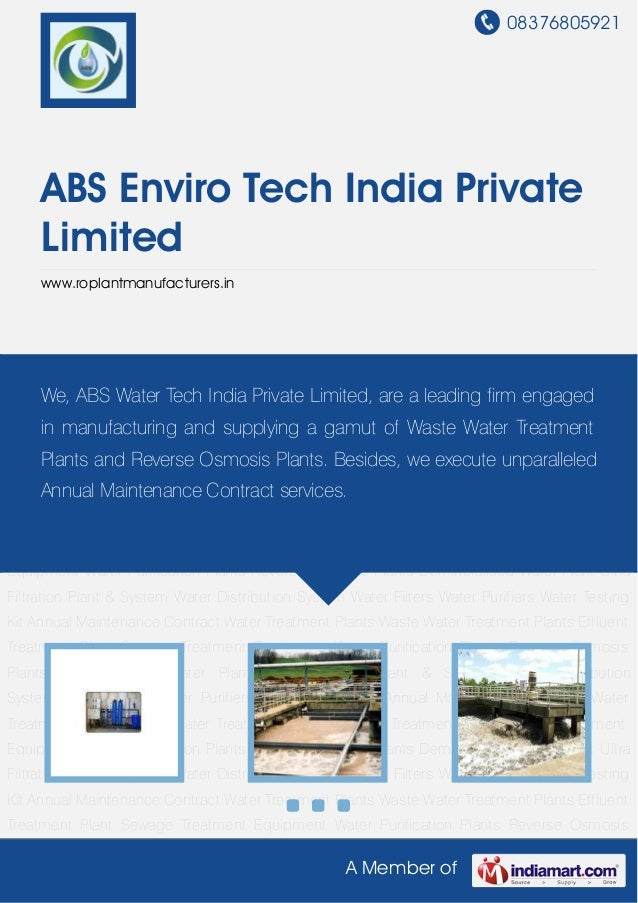 08376805921A Member ofABS Enviro Tech India PrivateLimitedwww.roplantmanufacturers.inWater Treatment Plants Waste Water Tr...
